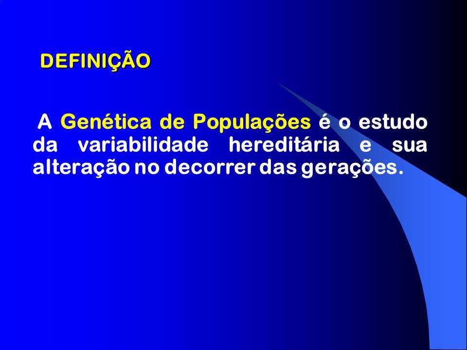 DEFINIÇÃO A Genética de Populações é o estudo da variabilidade hereditária e sua alteração no decorrer das gerações.