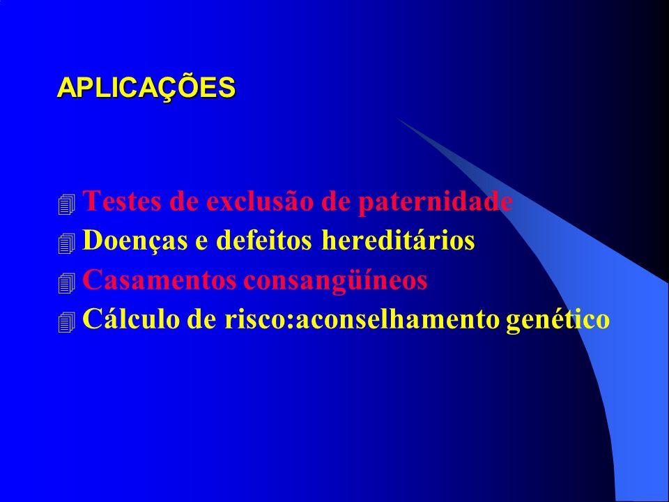 APLICAÇÕES 4 Testes de exclusão de paternidade 4 Doenças e defeitos hereditários 4 Casamentos consangüíneos 4 Cálculo de risco:aconselhamento genético