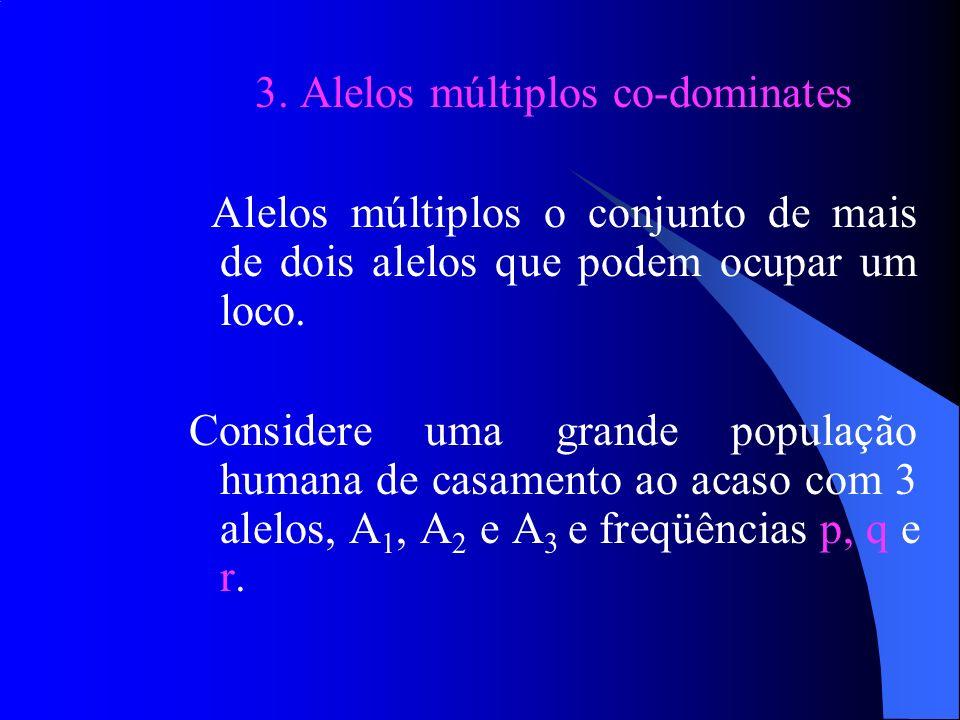 2. Genes dominantes e recessivos Exemplo Calcular a porcentagem de indivíduos heterozigotos (2pq), em uma população humana de casamentos ao acaso, ond