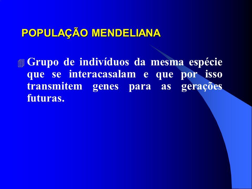 POPULAÇÃO MENDELIANA 4 Grupo de indivíduos da mesma espécie que se interacasalam e que por isso transmitem genes para as gerações futuras.