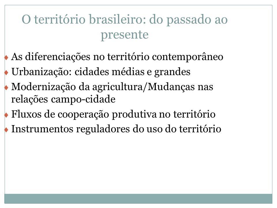 O território brasileiro: do passado ao presente As diferenciações no território contemporâneo Urbanização: cidades médias e grandes Modernização da ag