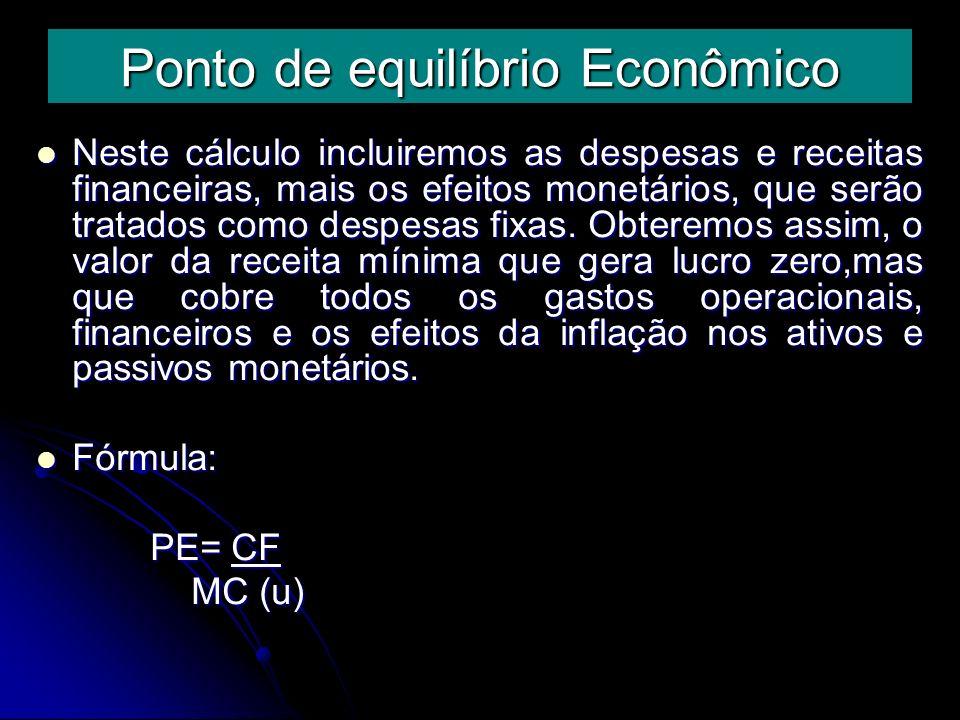 Ponto de equilíbrio Financeiro È importante em situações de eventuais reduções da capacidade de pagamento da empresa.