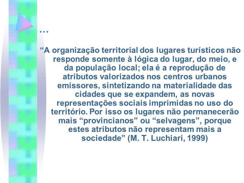 ... A organização territorial dos lugares turísticos não responde somente à lógica do lugar, do meio, e da população local; ela é a reprodução de atri