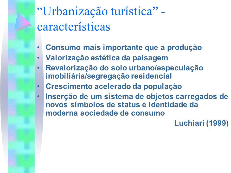 Urbanização turística - características Consumo mais importante que a produção Valorização estética da paisagem Revalorização do solo urbano/especulaç