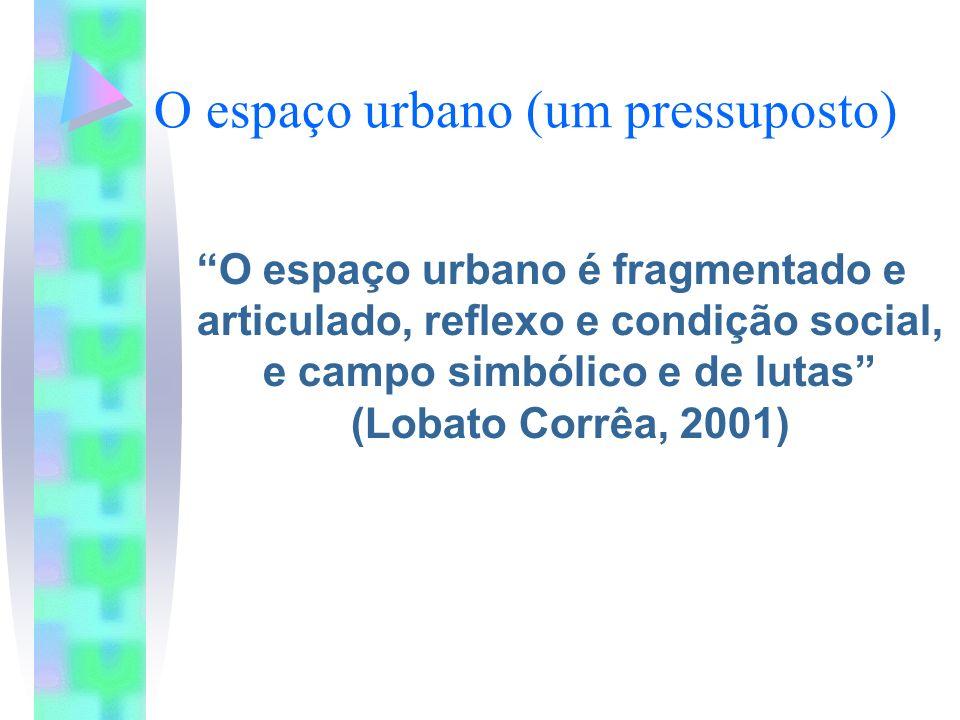 O espaço urbano (um pressuposto) O espaço urbano é fragmentado e articulado, reflexo e condição social, e campo simbólico e de lutas (Lobato Corrêa, 2