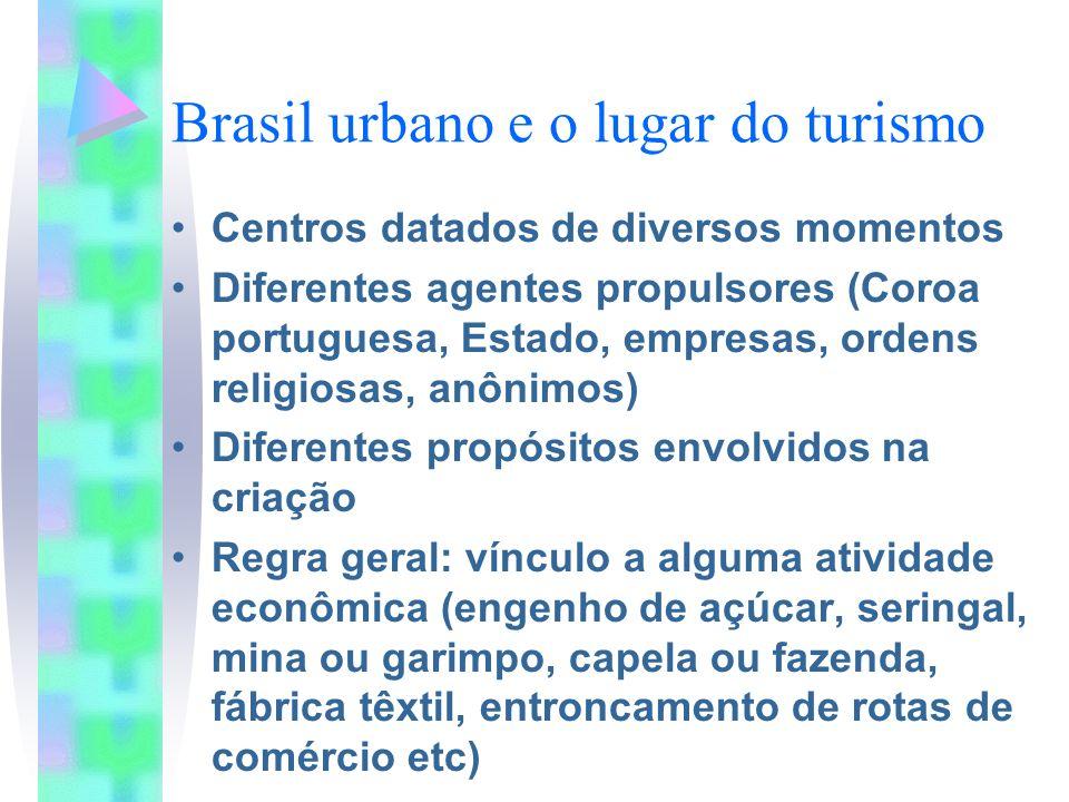Brasil urbano e o lugar do turismo Centros datados de diversos momentos Diferentes agentes propulsores (Coroa portuguesa, Estado, empresas, ordens rel
