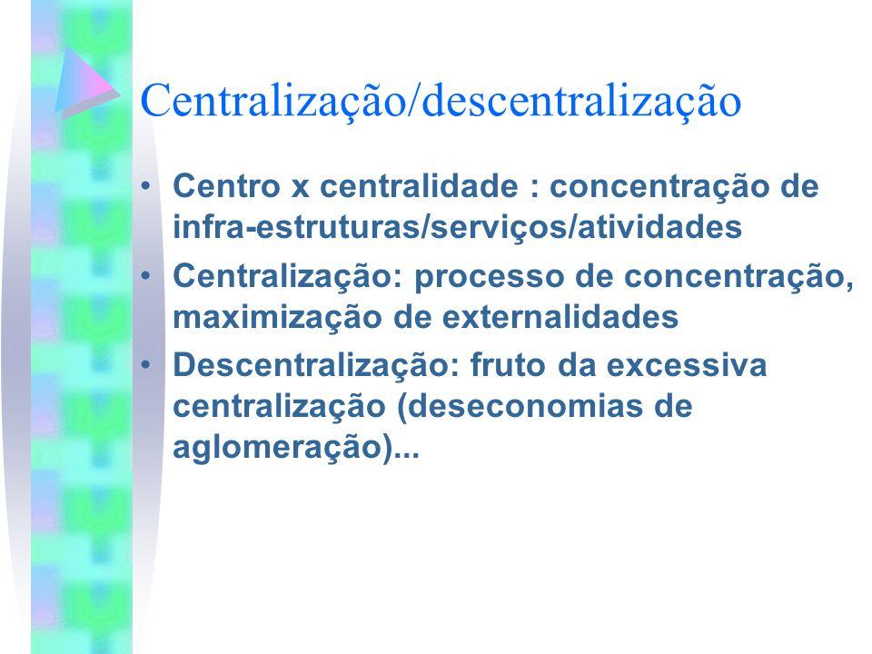 Centralização/descentralização Centro x centralidade : concentração de infra-estruturas/serviços/atividades Centralização: processo de concentração, m