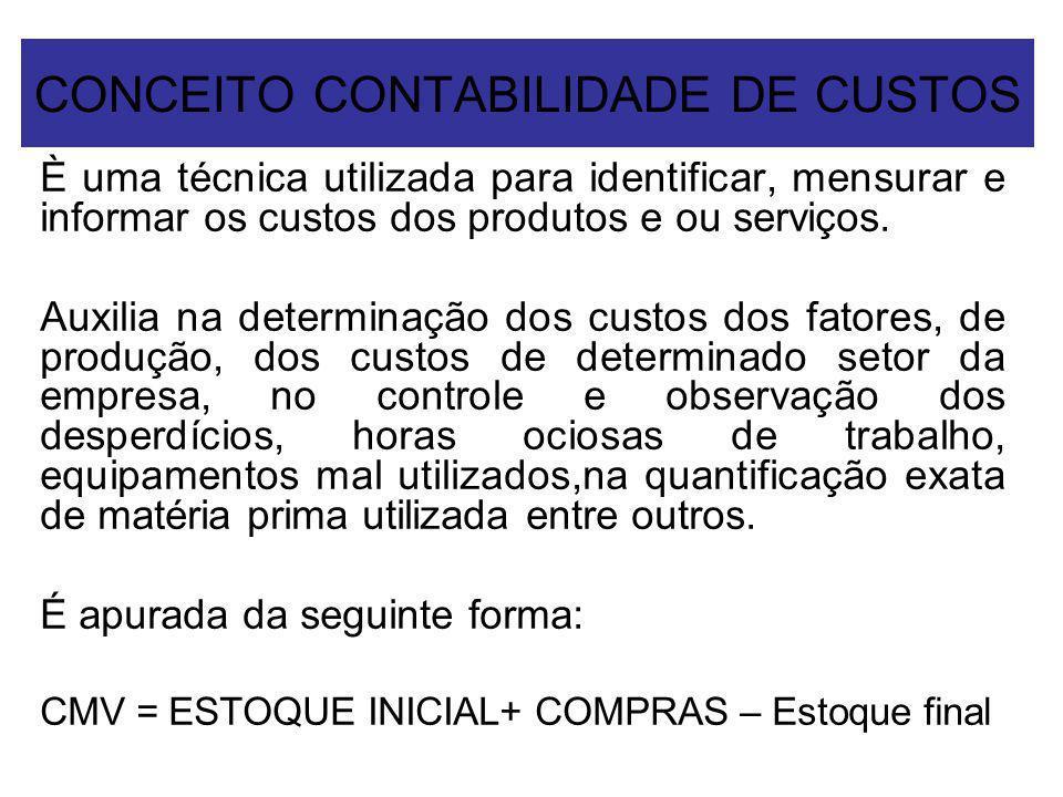 CONCEITO CONTABILIDADE DE CUSTOS È uma técnica utilizada para identificar, mensurar e informar os custos dos produtos e ou serviços. Auxilia na determ