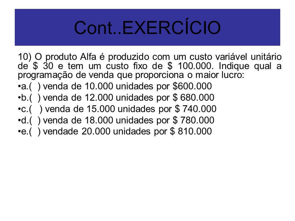 Cont..EXERCÍCIO 10) O produto Alfa é produzido com um custo variável unitário de $ 30 e tem um custo fixo de $ 100.000. Indique qual a programação de