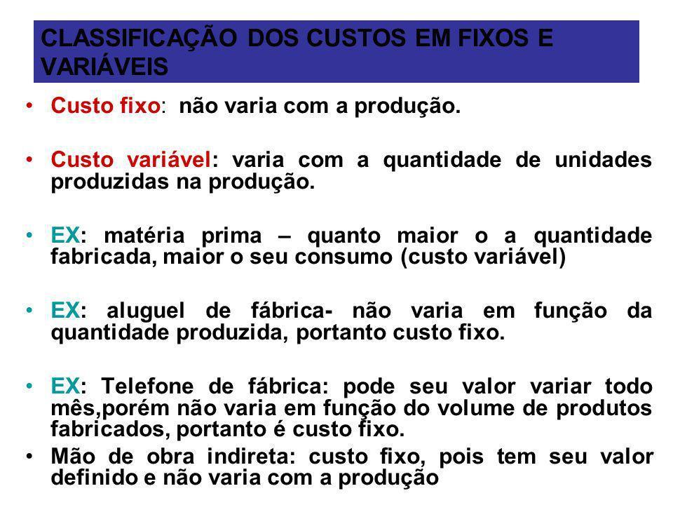 CLASSIFICAÇÃO DOS CUSTOS EM FIXOS E VARIÁVEIS Custo fixo: não varia com a produção. Custo variável: varia com a quantidade de unidades produzidas na p