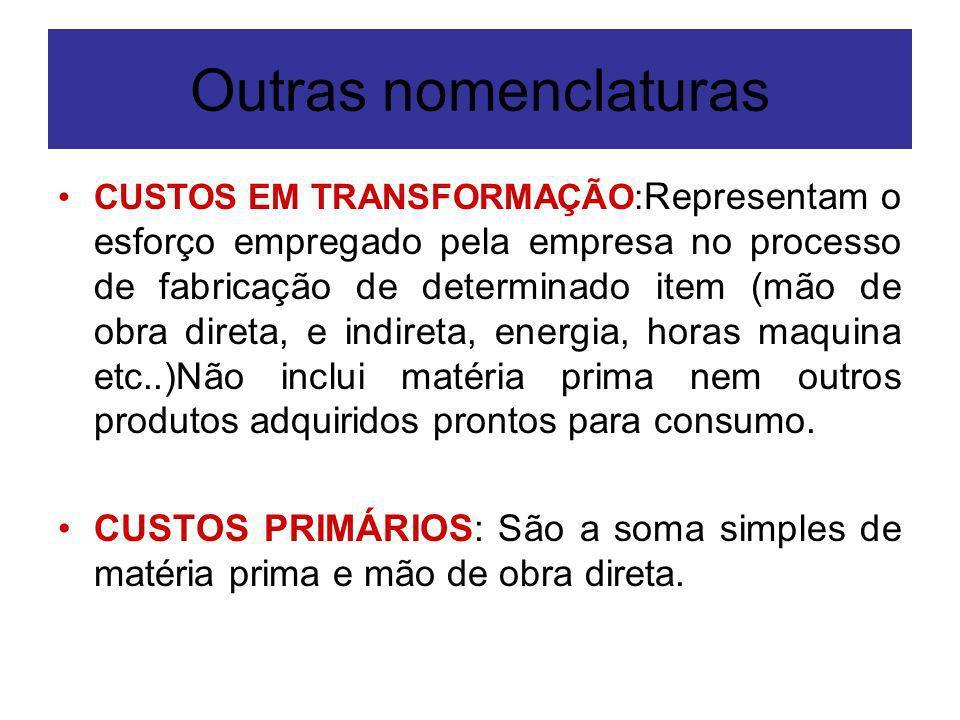Outras nomenclaturas CUSTOS EM TRANSFORMAÇÃO: Representam o esforço empregado pela empresa no processo de fabricação de determinado item (mão de obra