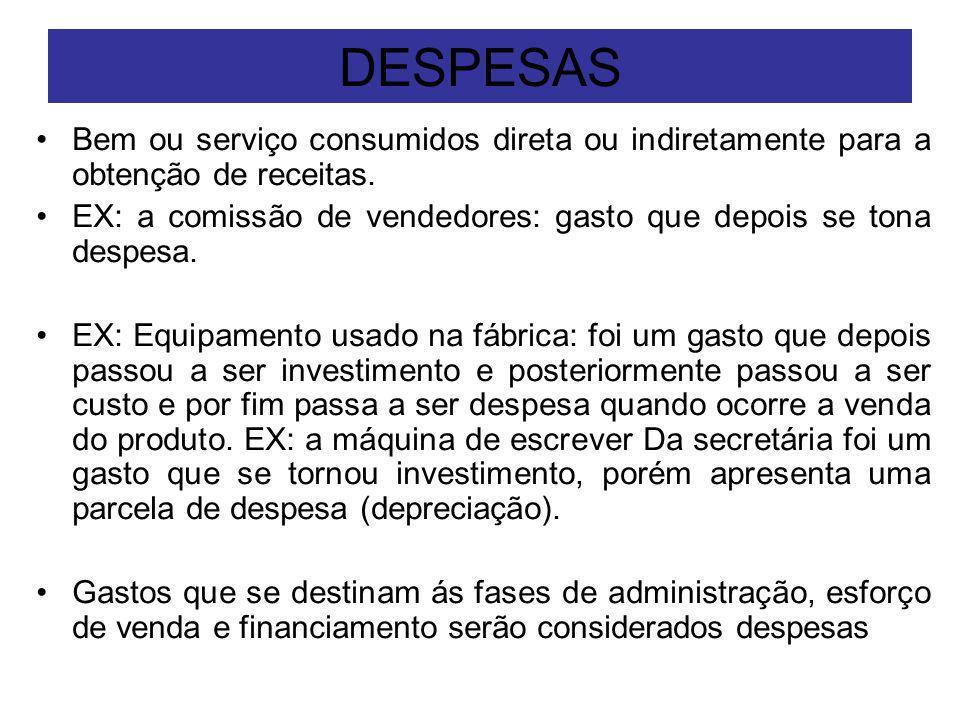 DESPESAS Bem ou serviço consumidos direta ou indiretamente para a obtenção de receitas. EX: a comissão de vendedores: gasto que depois se tona despesa