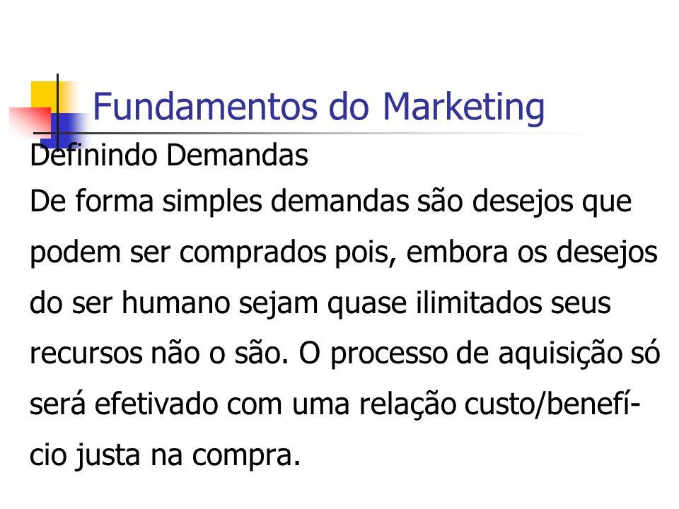 Fundamentos do Marketing Definindo Demandas De forma simples demandas são desejos que podem ser comprados pois, embora os desejos do ser humano sejam