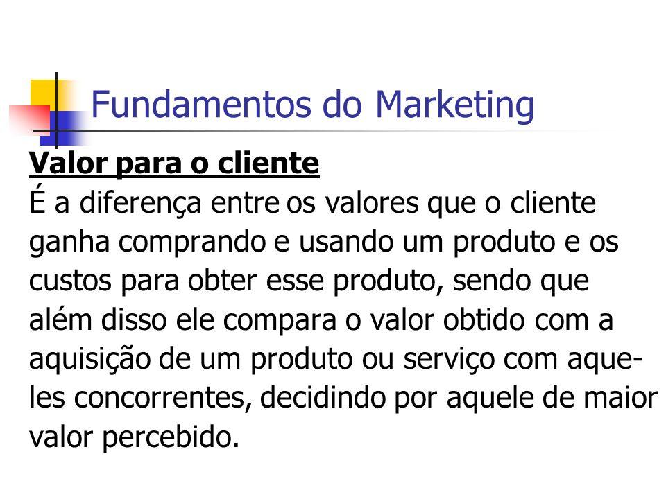 Fundamentos do Marketing Valor para o cliente É a diferença entre os valores que o cliente ganha comprando e usando um produto e os custos para obter