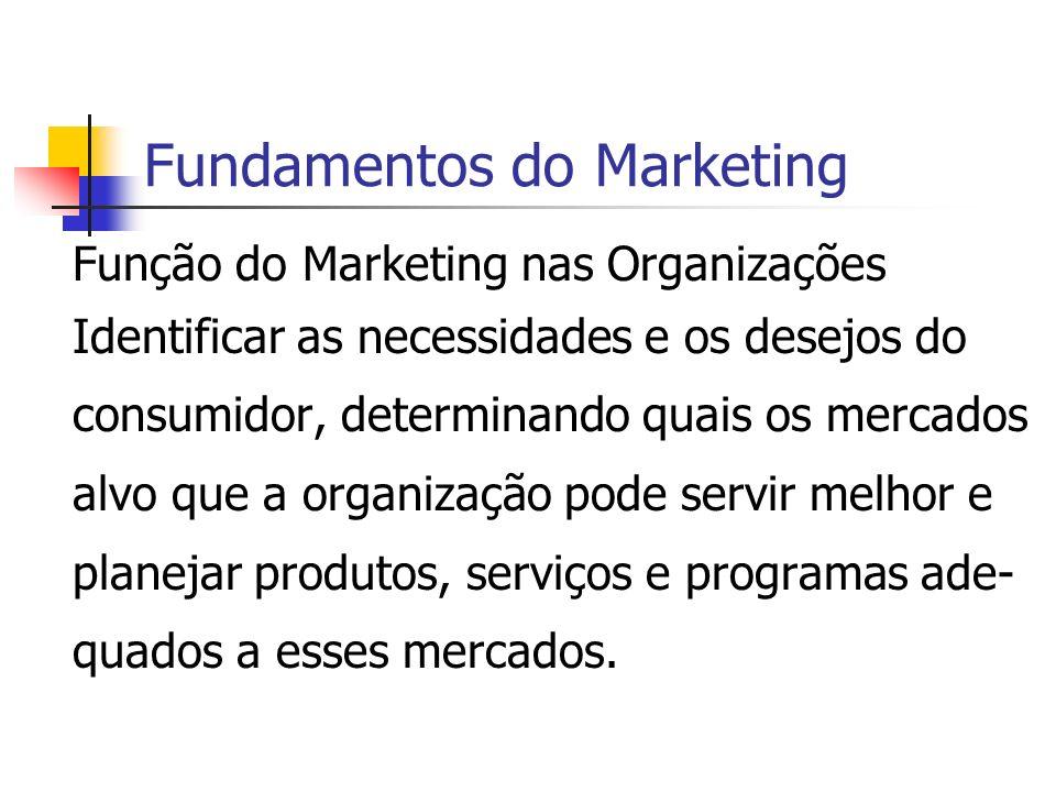 Fundamentos do Marketing Função do Marketing nas Organizações Identificar as necessidades e os desejos do consumidor, determinando quais os mercados a