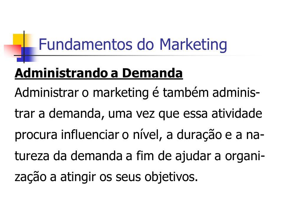 Fundamentos do Marketing Administrando a Demanda Administrar o marketing é também adminis- trar a demanda, uma vez que essa atividade procura influenc