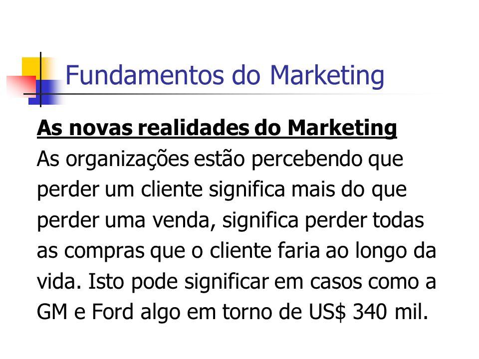 Fundamentos do Marketing As novas realidades do Marketing As organizações estão percebendo que perder um cliente significa mais do que perder uma vend