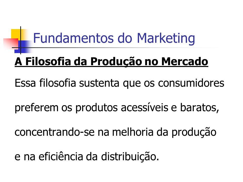 Fundamentos do Marketing A Filosofia da Produção no Mercado Essa filosofia sustenta que os consumidores preferem os produtos acessíveis e baratos, con