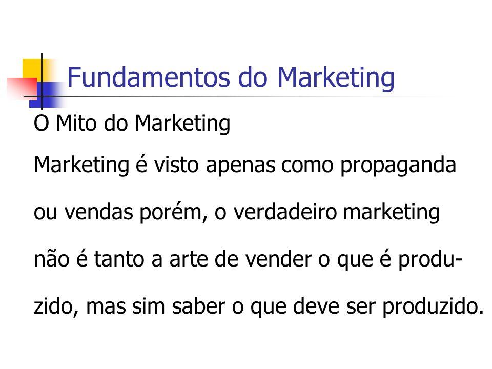 Fundamentos do Marketing O Mito do Marketing Marketing é visto apenas como propaganda ou vendas porém, o verdadeiro marketing não é tanto a arte de ve