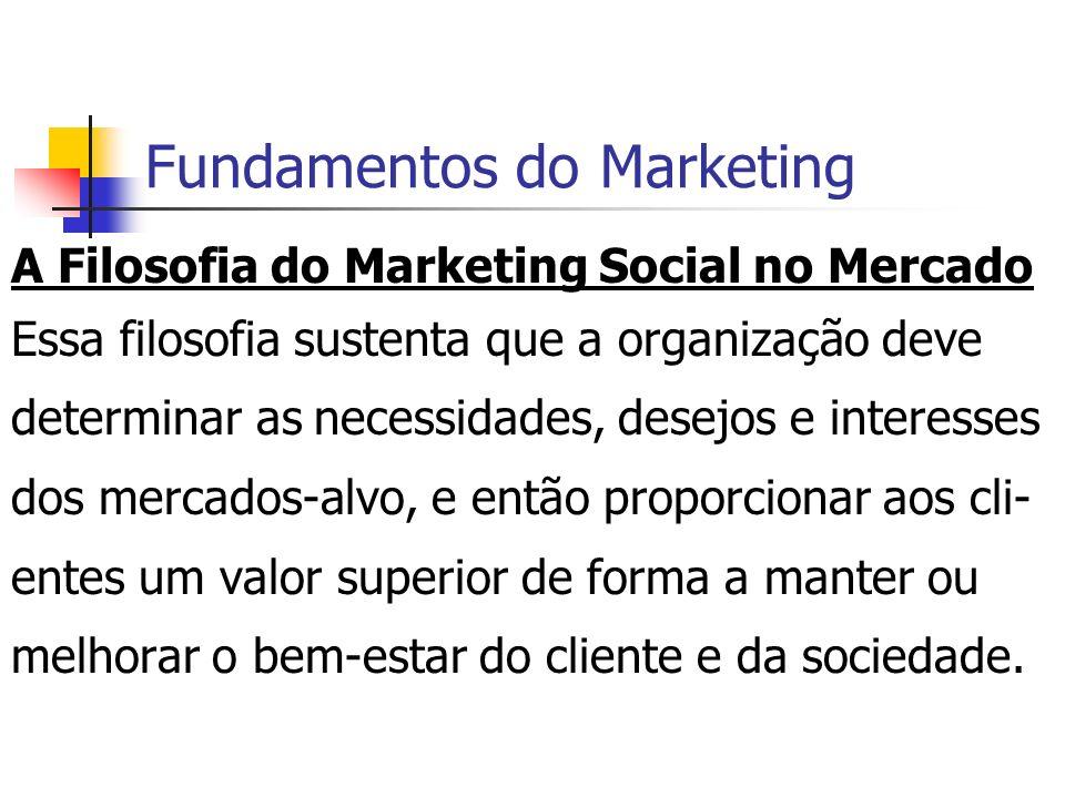 Fundamentos do Marketing A Filosofia do Marketing Social no Mercado Essa filosofia sustenta que a organização deve determinar as necessidades, desejos