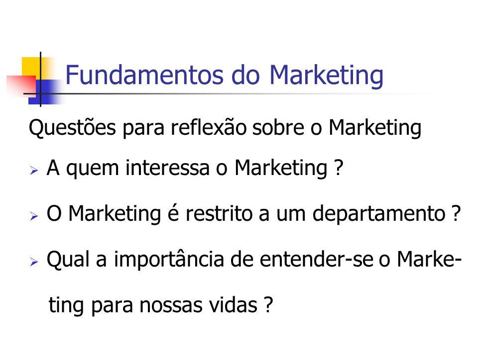 Fundamentos do Marketing Questões para reflexão sobre o Marketing A quem interessa o Marketing ? O Marketing é restrito a um departamento ? Qual a imp
