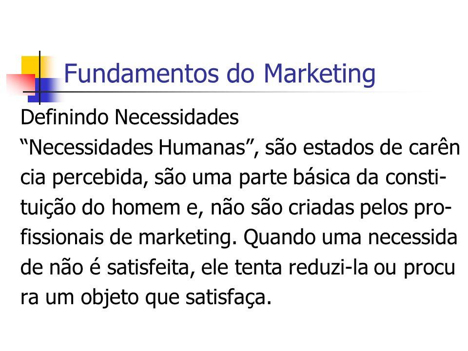 Fundamentos do Marketing Definindo Necessidades Necessidades Humanas, são estados de carên cia percebida, são uma parte básica da consti- tuição do ho