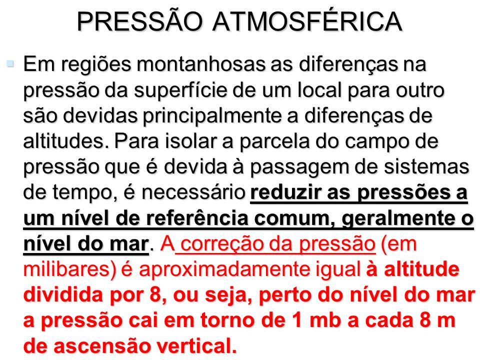 PRESSÃO ATMOSFÉRICA Em regiões montanhosas as diferenças na pressão da superfície de um local para outro são devidas principalmente a diferenças de al