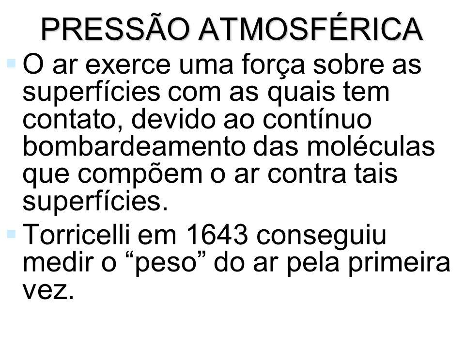 MEDIDAS DE PRESSÃO ATMOSFÉRICA A pressão atmosférica é medida por barômetros.
