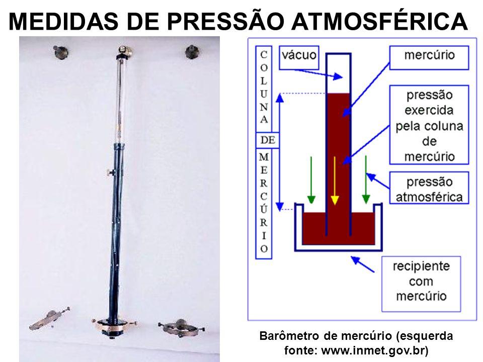 MEDIDAS DE PRESSÃO ATMOSFÉRICA Barômetro de mercúrio (esquerda fonte: www.inmet.gov.br)