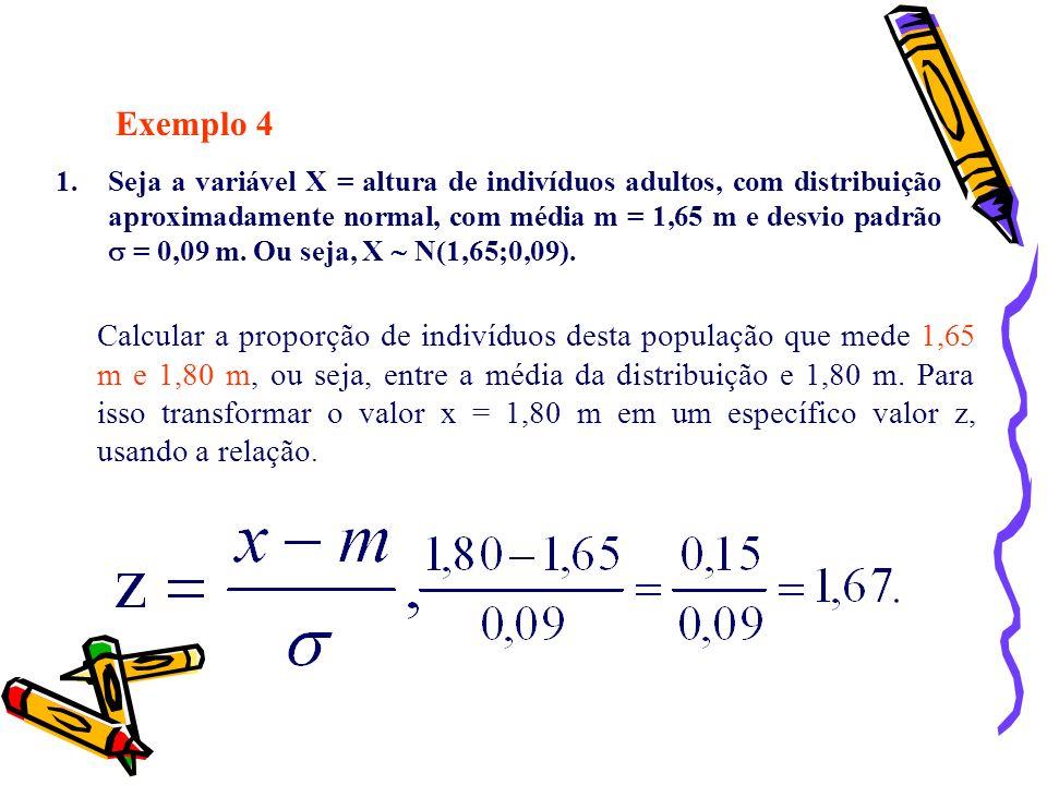 Exemplo 4 1.Seja a variável X = altura de indivíduos adultos, com distribuição aproximadamente normal, com média m = 1,65 m e desvio padrão = 0,09 m.