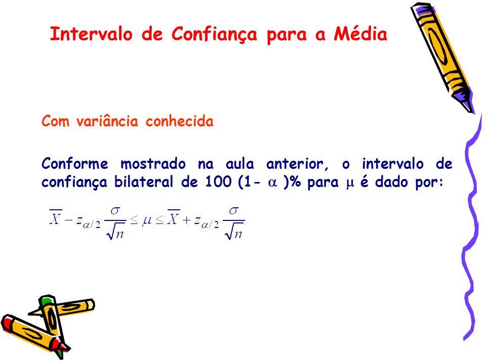 Com variância conhecida Conforme mostrado na aula anterior, o intervalo de confiança bilateral de 100 (1- )% para é dado por: Intervalo de Confiança p
