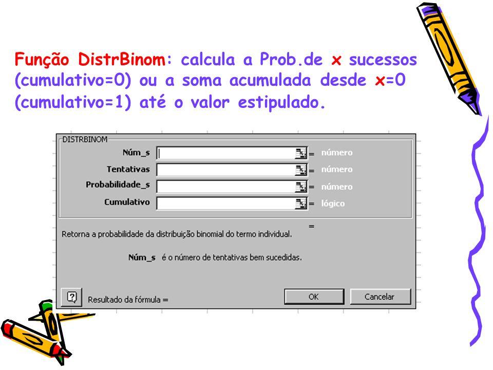 Função DistrBinom: calcula a Prob.de x sucessos (cumulativo=0) ou a soma acumulada desde x=0 (cumulativo=1) até o valor estipulado.