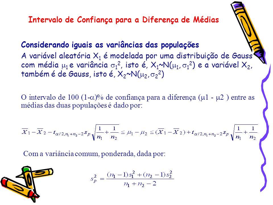 Considerando iguais as variâncias das populações A variável aleatória X 1 é modelada por uma distribuição de Gauss com média 1 e variância 1 2, isto é