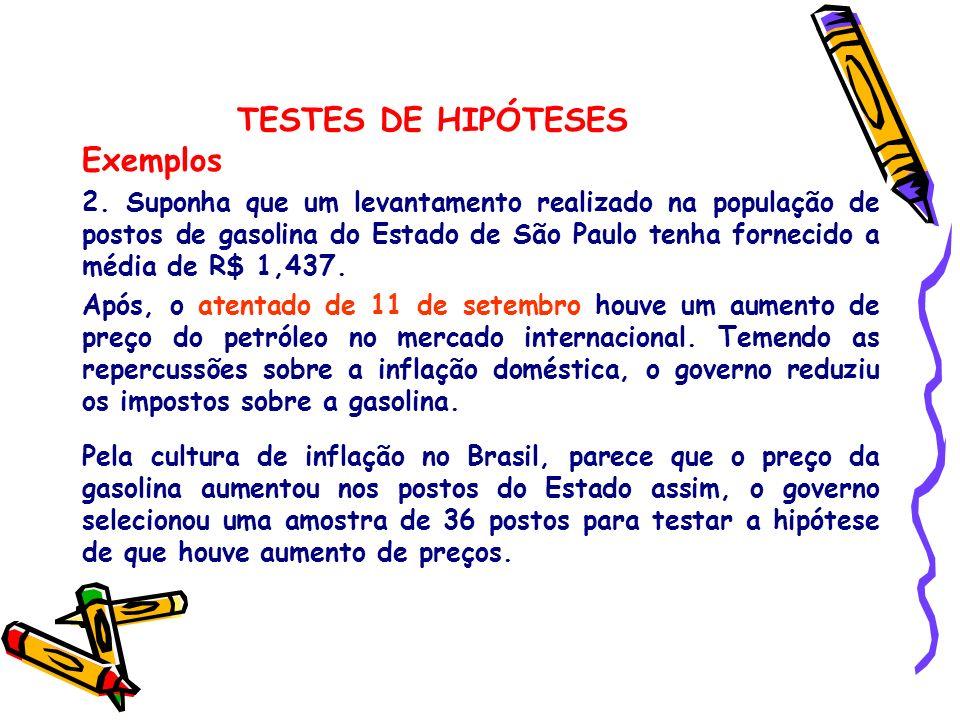 TESTES DE HIPÓTESES Exemplos 2. Suponha que um levantamento realizado na população de postos de gasolina do Estado de São Paulo tenha fornecido a médi