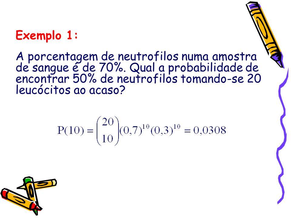 Exemplo 1: A porcentagem de neutrofilos numa amostra de sangue é de 70%. Qual a probabilidade de encontrar 50% de neutrofilos tomando-se 20 leucócitos
