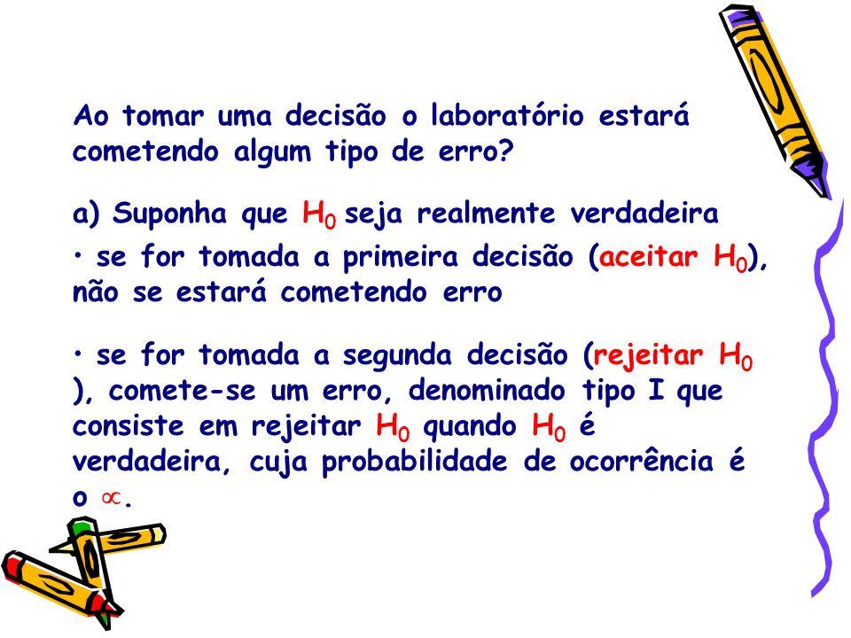 se for tomada a primeira decisão (aceitar H 0 ), não se estará cometendo erro se for tomada a segunda decisão (rejeitar H 0 ), comete-se um erro, deno