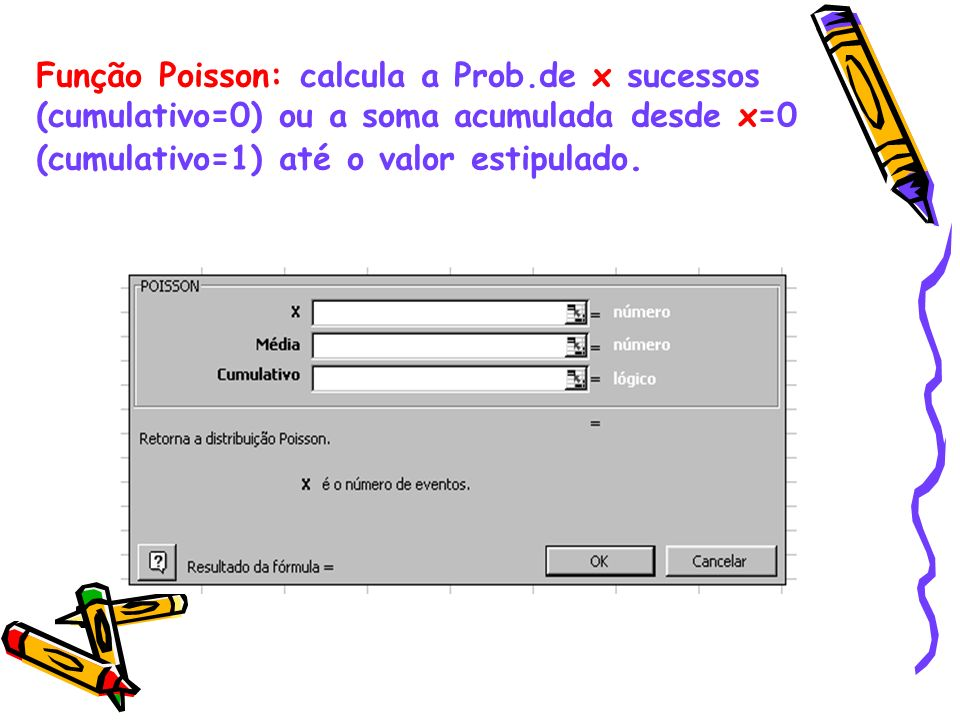 Função Poisson: calcula a Prob.de x sucessos (cumulativo=0) ou a soma acumulada desde x=0 (cumulativo=1) até o valor estipulado.
