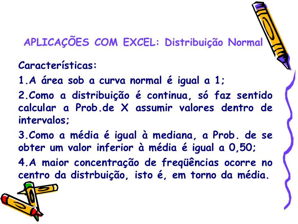 APLICAÇÕES COM EXCEL: Distribuição Normal Características: 1.A área sob a curva normal é igual a 1; 2.Como a distribuição é continua, só faz sentido c