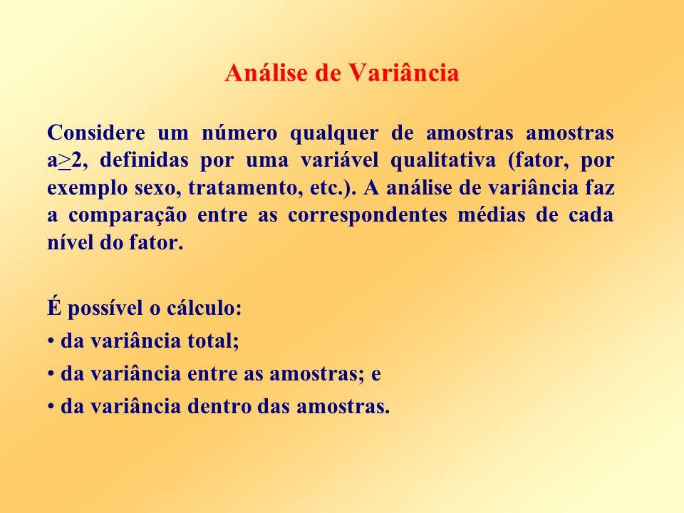 Análise de Variância Considere um número qualquer de amostras amostras a>2, definidas por uma variável qualitativa (fator, por exemplo sexo, tratament