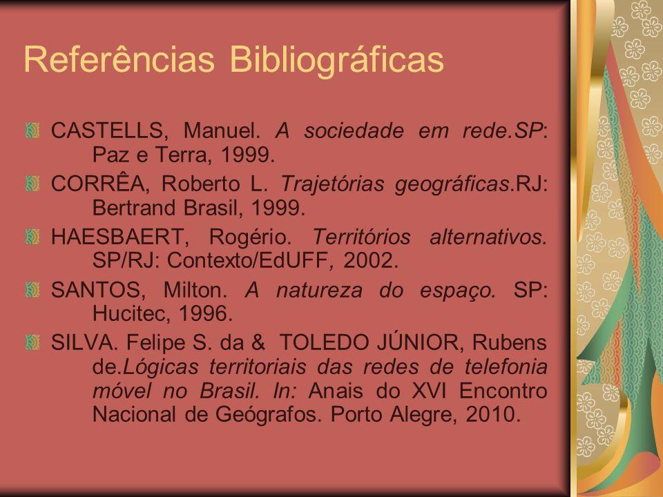 Referências Bibliográficas CASTELLS, Manuel. A sociedade em rede.SP: Paz e Terra, 1999. CORRÊA, Roberto L. Trajetórias geográficas.RJ: Bertrand Brasil