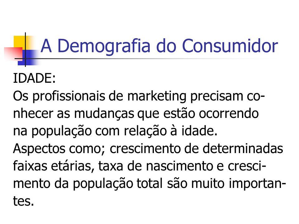 A Demografia do Consumidor IDADE: Os profissionais de marketing precisam co- nhecer as mudanças que estão ocorrendo na população com relação à idade.