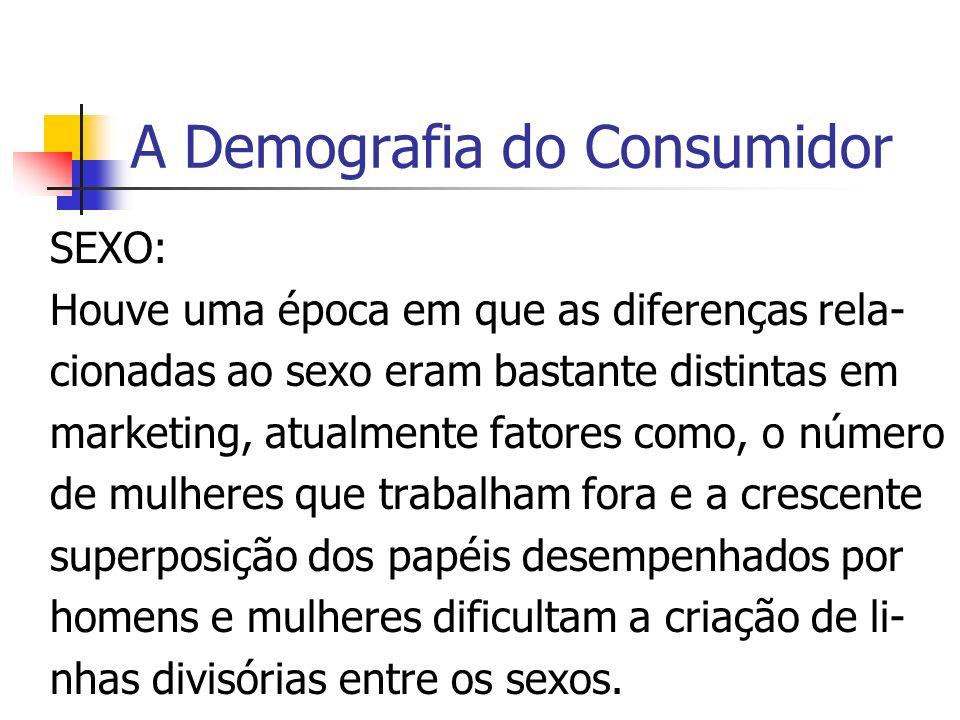 A Demografia do Consumidor SEXO: Houve uma época em que as diferenças rela- cionadas ao sexo eram bastante distintas em marketing, atualmente fatores