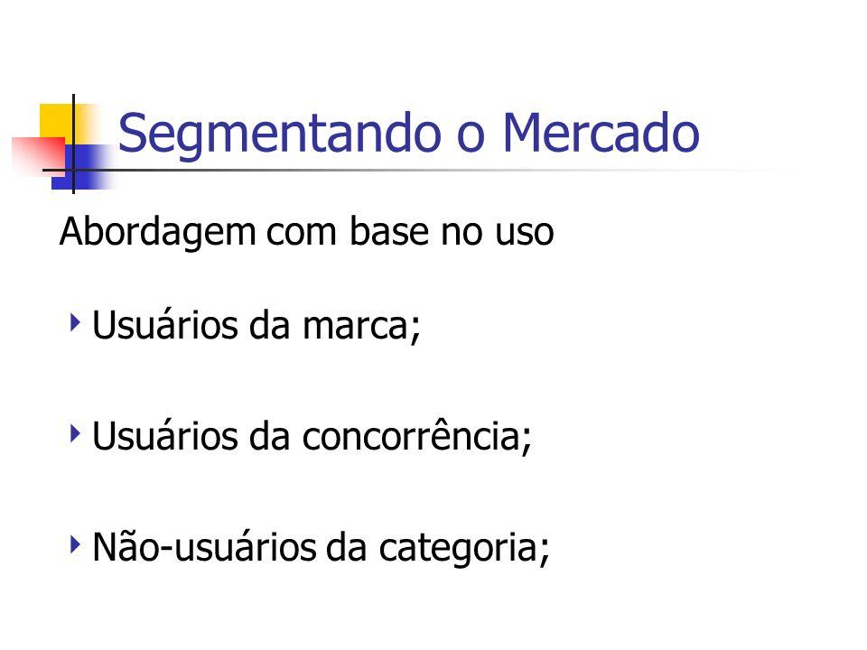 Segmentando o Mercado Abordagem com base no uso Usuários da marca; Usuários da concorrência; Não-usuários da categoria;