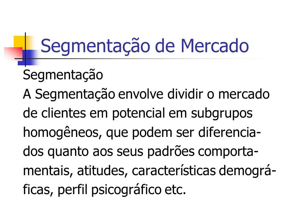 Segmentação de Mercado Segmentação A Segmentação envolve dividir o mercado de clientes em potencial em subgrupos homogêneos, que podem ser diferencia-