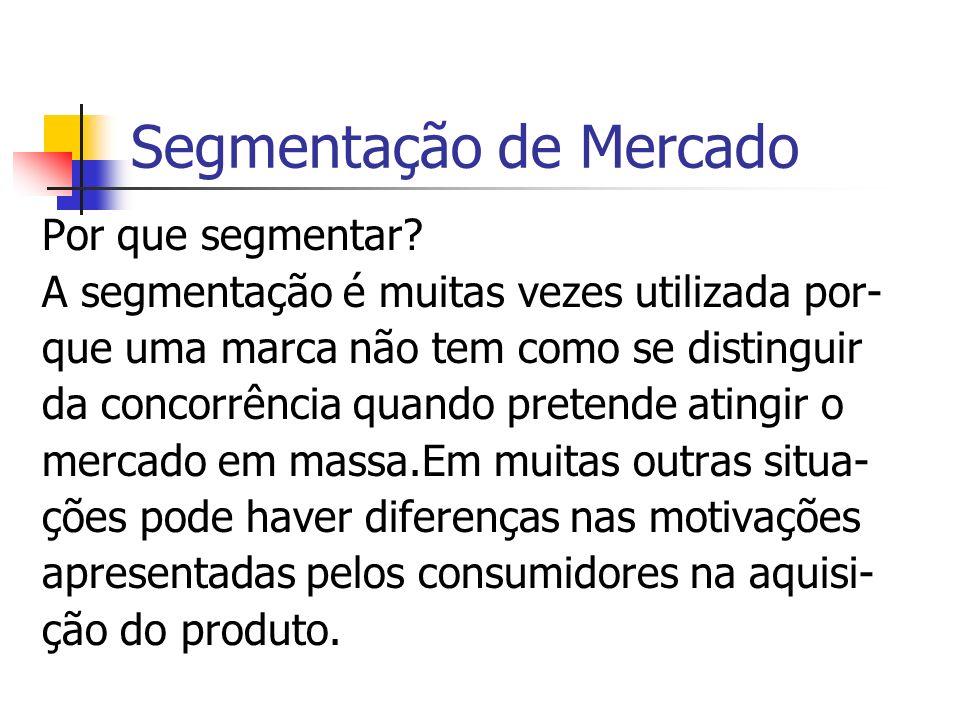 Segmentação de Mercado Por que segmentar? A segmentação é muitas vezes utilizada por- que uma marca não tem como se distinguir da concorrência quando