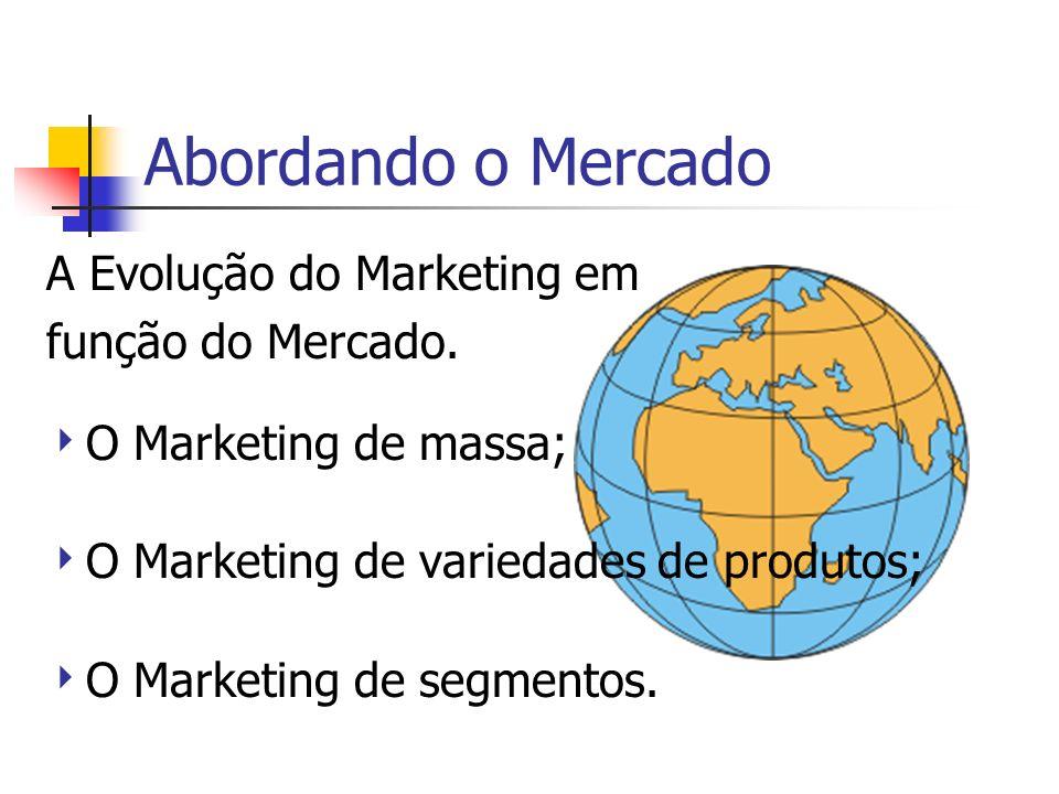 Abordando o Mercado A Evolução do Marketing em função do Mercado. O Marketing de massa; O Marketing de variedades de produtos; O Marketing de segmento