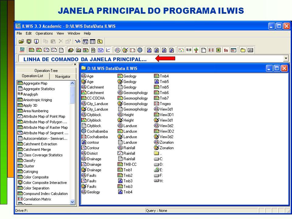JANELA PRINCIPAL DO PROGRAMA ILWIS LINHA DE COMANDO DA JANELA PRINCIPAL…