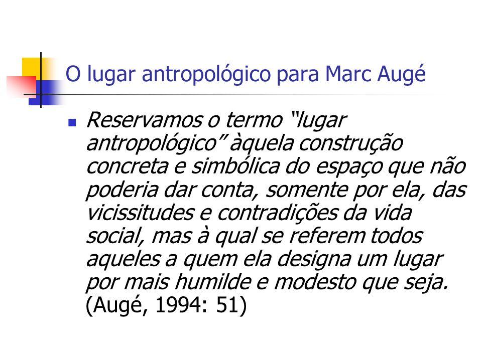 O não-lugar de Marc-Augé Se um lugar pode se definir como identitário, relacional e histórico, um espaço que não pode se definir nem como identitário, nem como relacional, nem como histórico definirá um não- lugar.