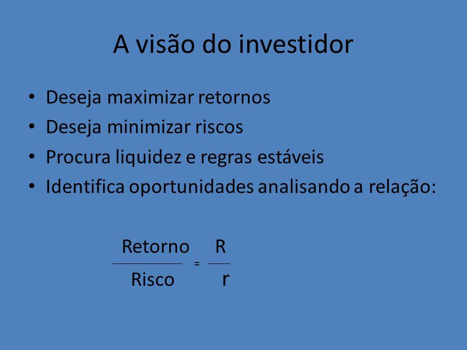A visão do investidor Deseja maximizar retornos Deseja minimizar riscos Procura liquidez e regras estáveis Identifica oportunidades analisando a relaç