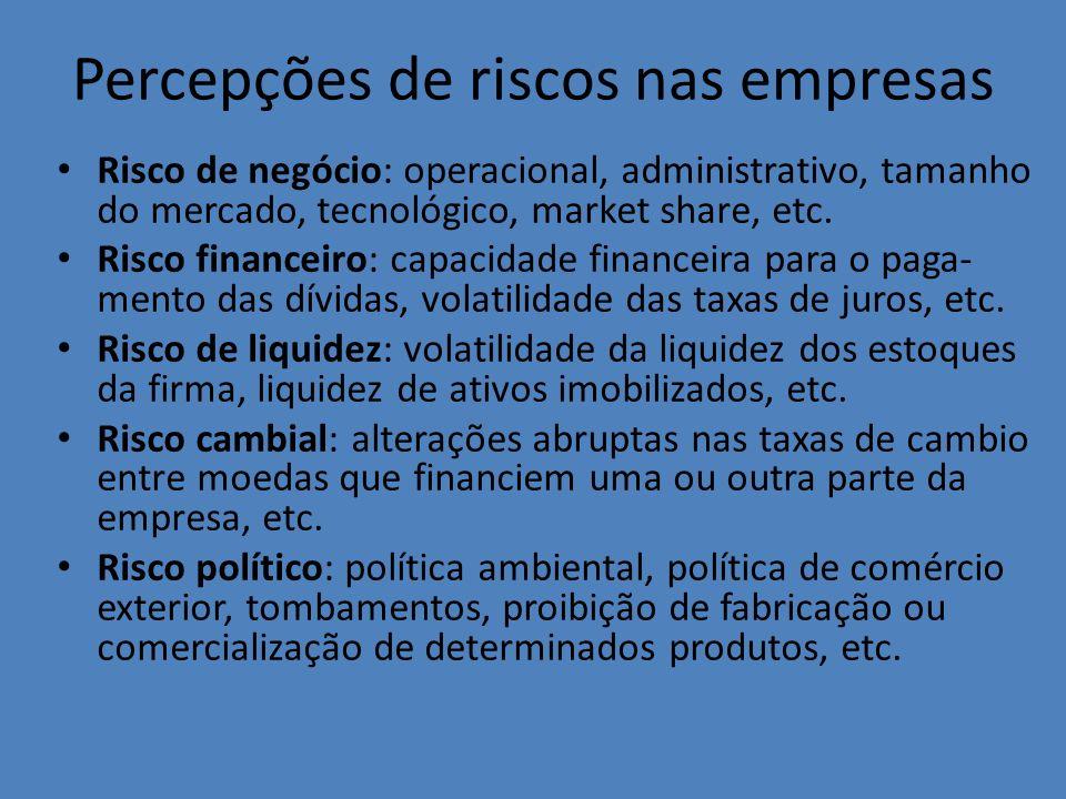 Percepções de riscos nas empresas Risco de negócio: operacional, administrativo, tamanho do mercado, tecnológico, market share, etc. Risco financeiro: